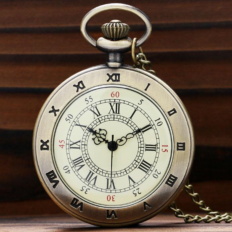 Hot Roman Vintage Copper Roman Number Dial Pocket Quartz Watch Necklace Pendant Men Gift P59