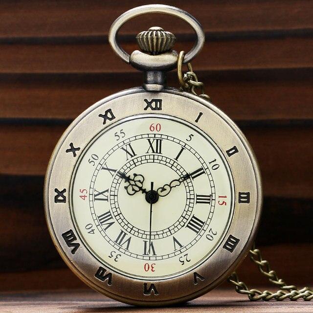 Hot Roman Vintage Copper Roman Number Dial Pocket Quartz Watch Necklace Pendant