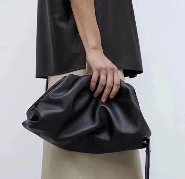 La pochette en cuir enveloppe sac de luxe sacs à main femmes sacs Designer volumineux forme arrondie sacs à main et sacs à main pochettes-in Sacs à poignées supérieures from Baggages et sacs    1