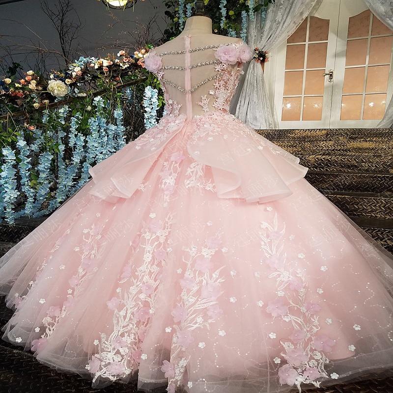 Robes de Quinceanera rose gonflées 2019 haut perlé doux 16 robes de bal ans robe de bal de fête d'anniversaire - 2