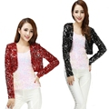 Bling Sequined Coat 2017 New fashion Women Ds Clubwear Sparkly Sequin V-Neck Short Sexy Shrug Cardigan Jacket Stage Cloth