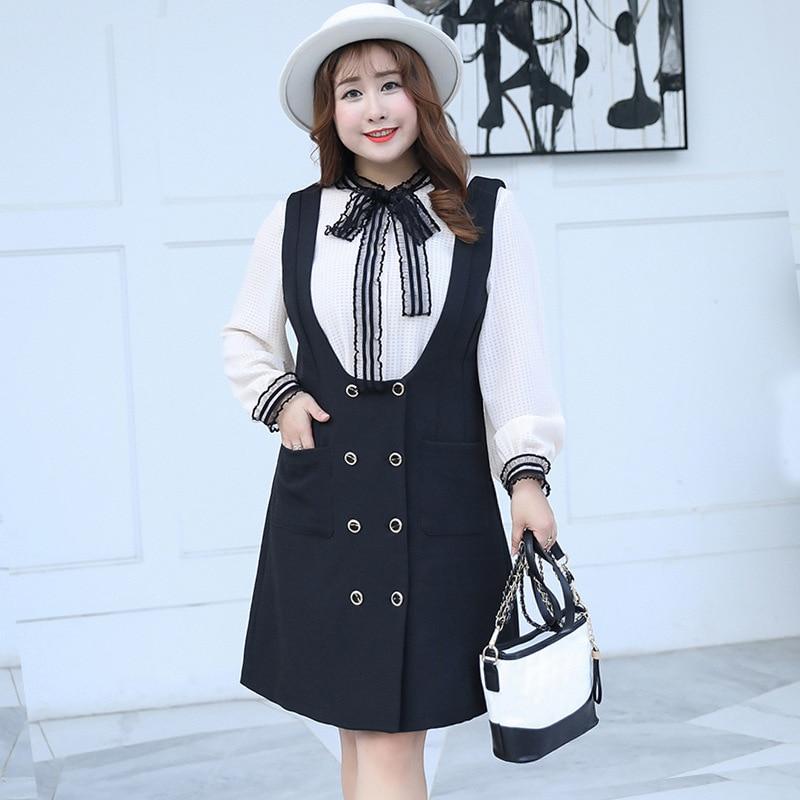 Sans Grande Doux Taille Robe Pièces Manches Coréenne 6745 Black Deux Pour Et Longues skin À Femme Chemise wOqrx0wf