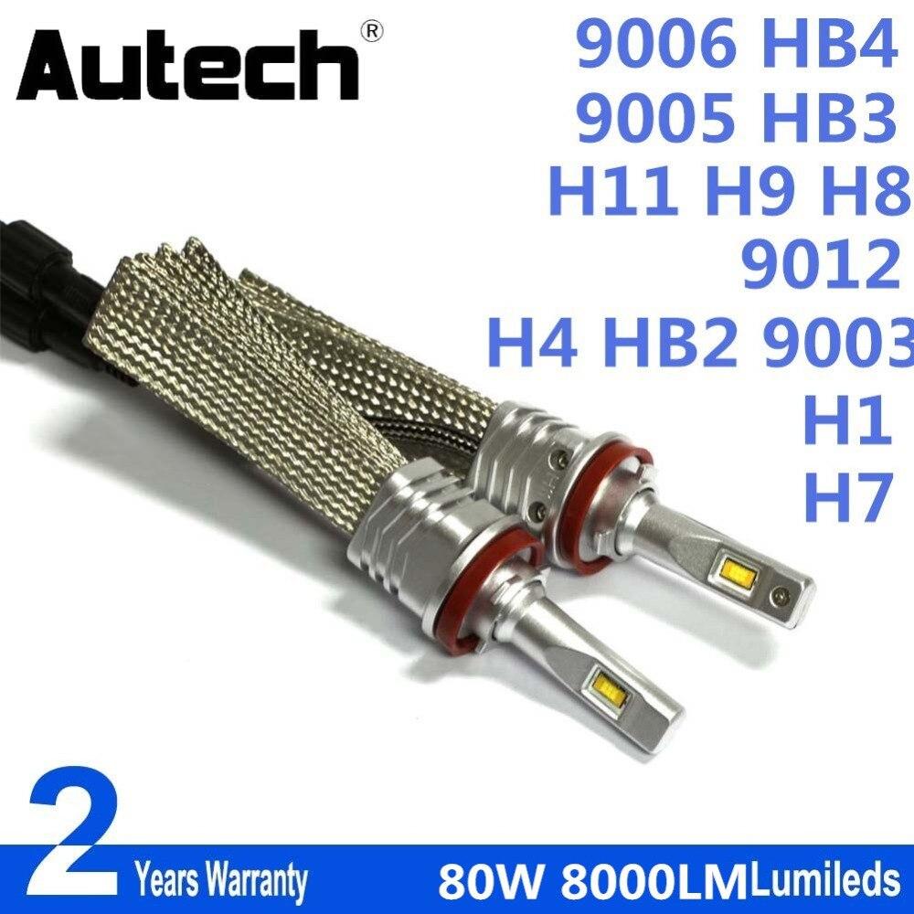 Autech H11 H9 H8 H7 9006 HB4 9012 H4 HB2 9003 H1 80W 8000lm Led Headlight 6000K White LED light Front Bulb Automobiles Headlamp