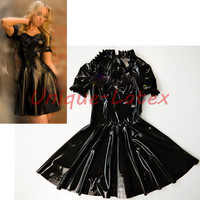 Латексное платье с оборками латексное платье с платье из латекса с коротким рукавом комбинезон Bodycon