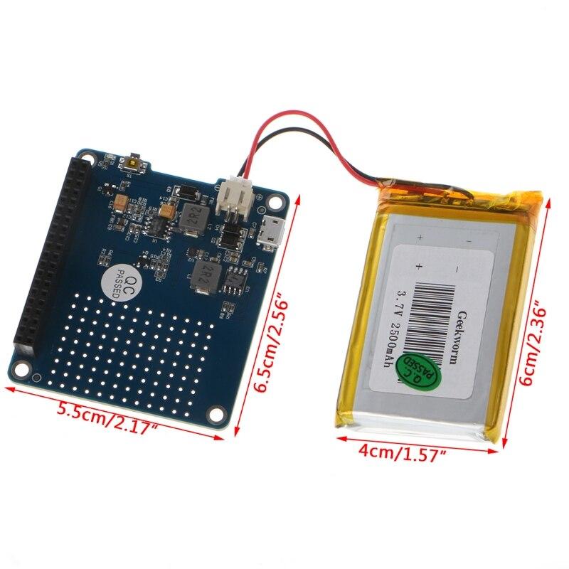 1PC UPS HAT Board + 2500mAh Lithium <font><b>Battery</b></font> For <font><b>Raspberry</b></font> <font><b>Pi</b></font> <font><b>3</b></font> Model B / <font><b>Pi</b></font> 2B / B+ / A+ Board Module Drop Shipping