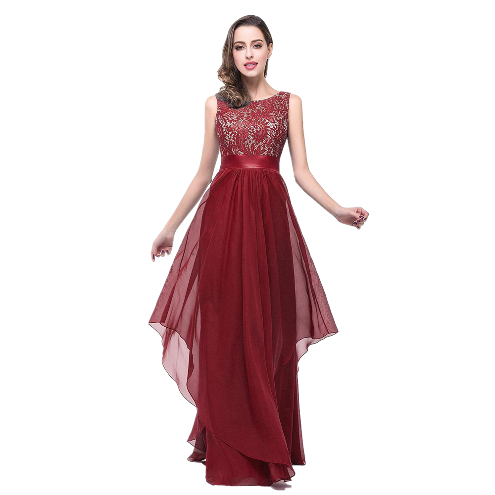 Lovely Long Dresses For Weddings #1: 2017-New-Lace-Bodice-Burgundy-Chiffon-Elegant-Long-Evening-Dresses-A-Line-Scoop-Robe-De-Soiree.jpg