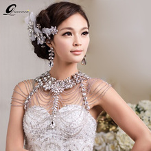 Vintage Bridal Shoulder Strap Luxury Wedding Jewelry Long Crystal Necklace Chains Jewellery
