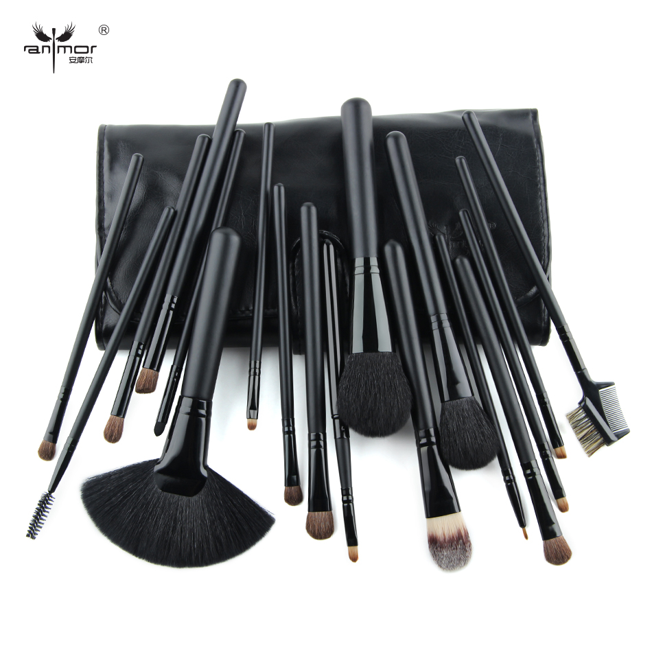 где купить  Travel Brush Set 18 PCS Makeup Brush Set Black Make Up Brushes Professional Makeup Brushes With Black Bag  дешево
