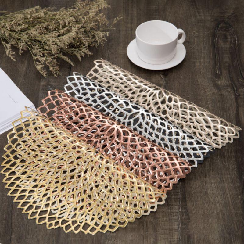 38 см круглые Форма обеденный Салфетки сервировочные выдалбливают Цветок изоляции декоративные металлические столовых ПВХ Coaster колодки