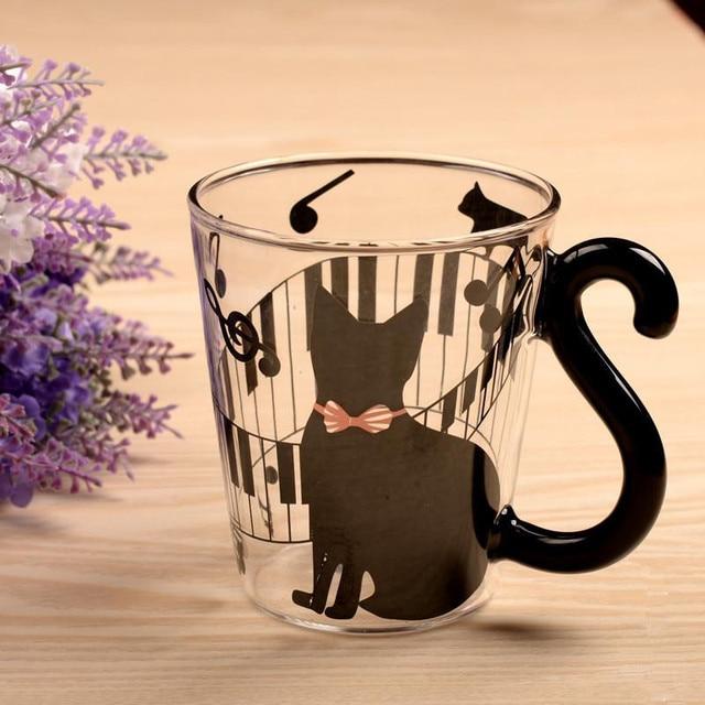Black Cat Coffee Milk Glass Cup Kids Home Breakfast Milk Drinking