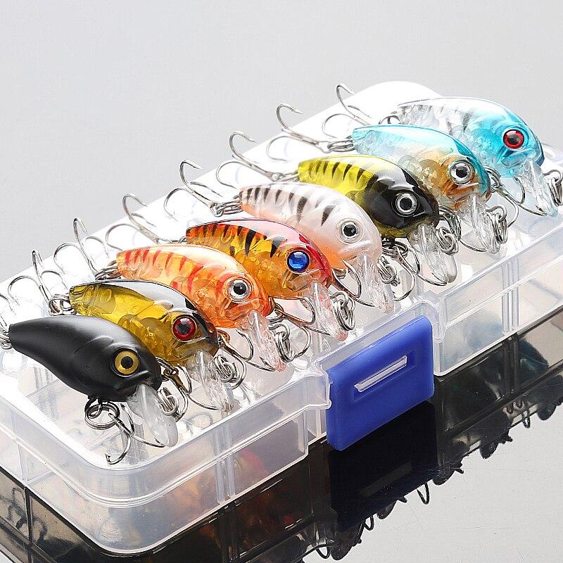 DONQL Mixed Colors Fishing Lure Set 5/8pcs Minnow Baits Kit Wobbler Crankbaits with Box Treble Hooks Fishing Tackle hard Bait