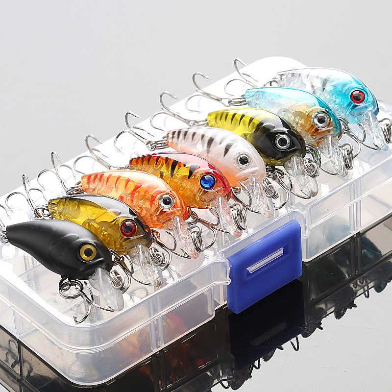 8Pcs//Lot 5cm Fishing Lures Crank Bait Tackle Minnow Hard Fishing Treble Hooks