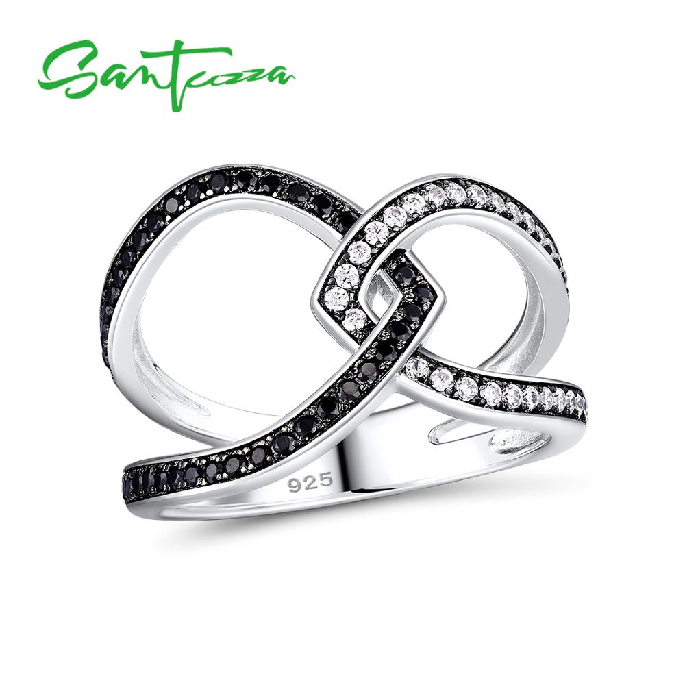 SANTUZZA Silver Rings For Women Pure 925 Sterling Silver Sparkling Black Spinel Zirconia Stone Rings Silver Color Fine Jewelry