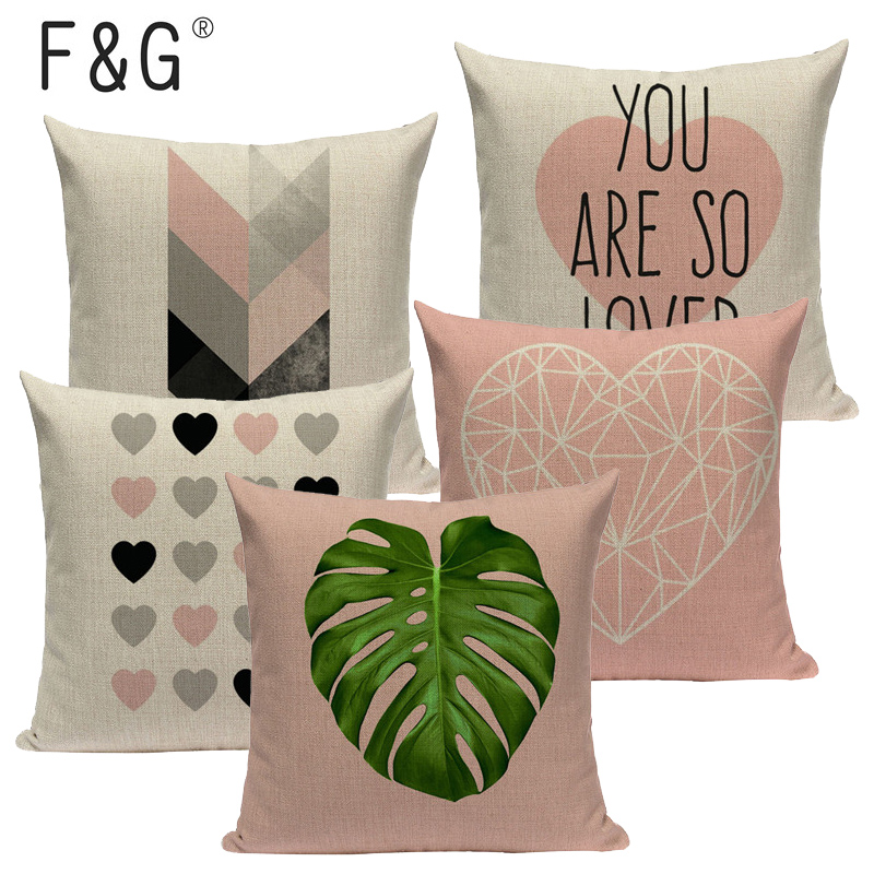 Marvelous Us 2 98 38 Off Pink Geometric Nordic Cushion Cover Tropic Palm Leaf Throw Pillow Cover Linen Cushion Case Sofa Bed Decorative Heart Pillowcase In Ocoug Best Dining Table And Chair Ideas Images Ocougorg