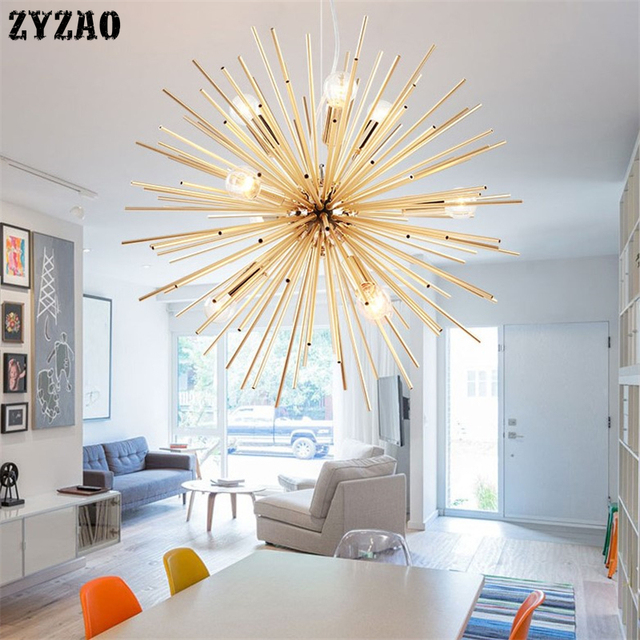 שן הארי קיפוד נברשת תאורת אלומיניום צינור ניצוץ כדור Creative מנורת זהב אמריקאי פוסט מודרני מסעדת
