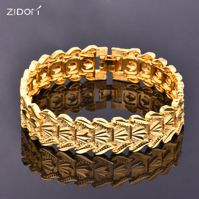 Gold Color High Quality Men Hip Hop Bracelet Fashion 1 7cm Width 21 5cm Long Link