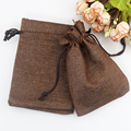 10x14cm 100pcs/lot Coffee Color Linen Gift Packaging Bags Drawstring Jewelry Beads Pouches Accept Custom Logo Printing