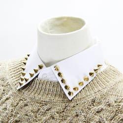 Jaderic 2018 Мода Золотой Цвет заклепки съемный воротник рубашки Для женщин Сплошной Белый съемный воротник женский в стиле панк поддельные