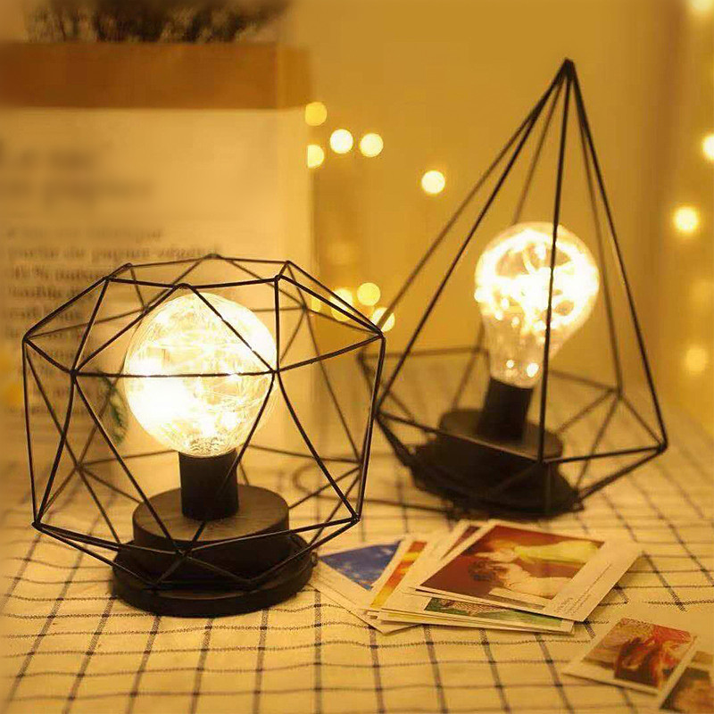 Geometric Shape Pendant Lamp Battery Operated Copper Wire Hanging Light Home Restaurant Cafe Decoration