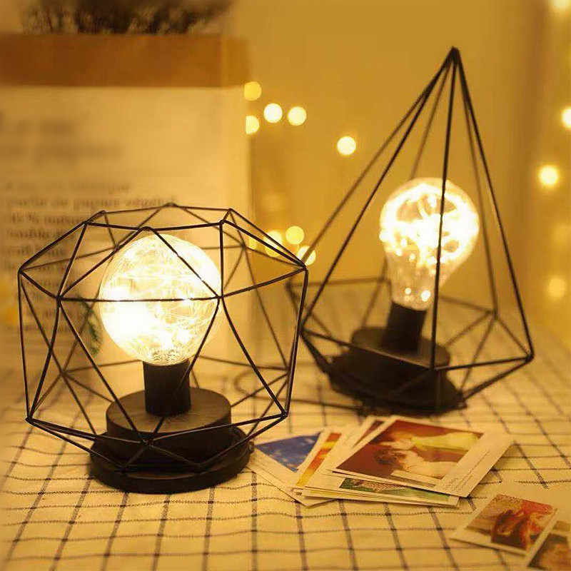Geometric Shape Pendant Lamp Battery