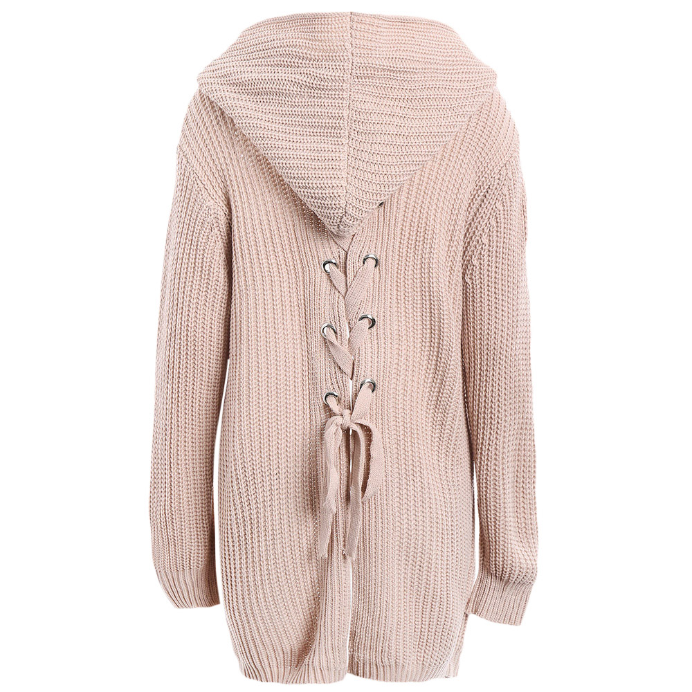ZAFUL New Spring Autumn Warm Knitted Sweaters Women Casual Cardigan Long  Sleeve Lace Up Back Pockets Hooded Cardigans Thick Coat-in Cardigans from  Women s ... 4aba8d247