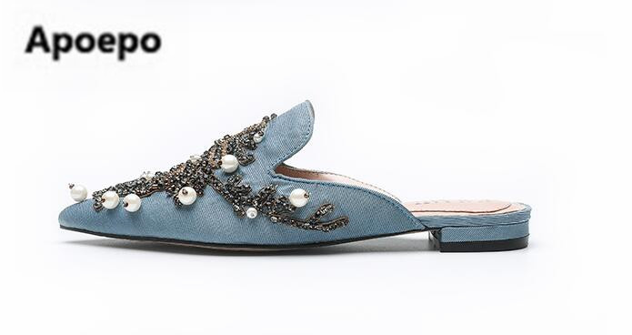 Pointu Picture Strass Date Pantoufles Mules Occasionnel Marque Sexy Bout Appartements Picture Femme Main Perle Chaussures As as Femmes Brodent Nmv80wn
