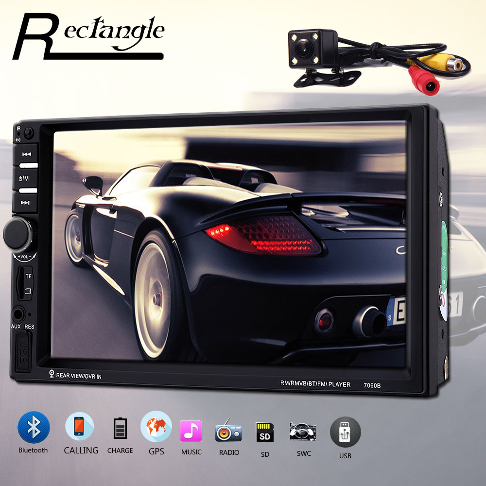 Rectangle 7060B 7 Inch Car Multimedia Player FM Radio Bluetooth USB MP5 Player with Rear View Camera Steering Wheel Control rk 7157b 7inch 2din car mp5 rear view camera fm am rds radio tuner bluetooth media player steering wheel control