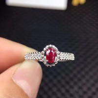 natural real Ruby gemstone Ring in 925 sterling silver yellow gold fine jewelry color for women with gift box