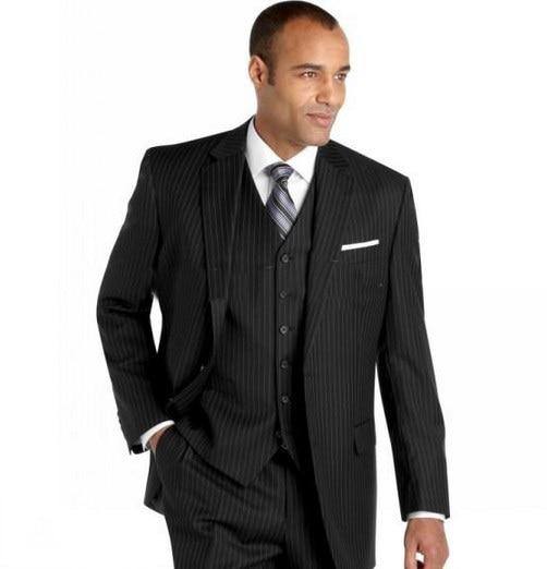 Custom Made To Measure Chalk Stripe Men Suits,Bespoke Charcoal, Grey,Black, Dark Navy Blue Groom Tuxedos For Men, Wedding Suits