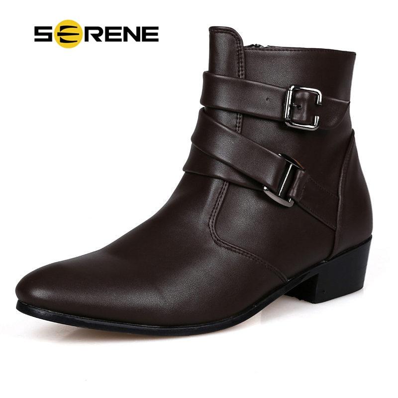 SERENE Jenama 2018 Musim Musim Sejuk Manusia But Boots Panjang Saiz 39-44 Hitam Putih Dewasa Lelaki Suede Kulit Kasut Kasual But hangat Boots