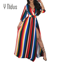 Women's Dresses Autumn Chiffon Color Striped Dress 2018 3/4 Sleeve Sex Deep V Neck Backless Loose Flowy Party Dress vestidos