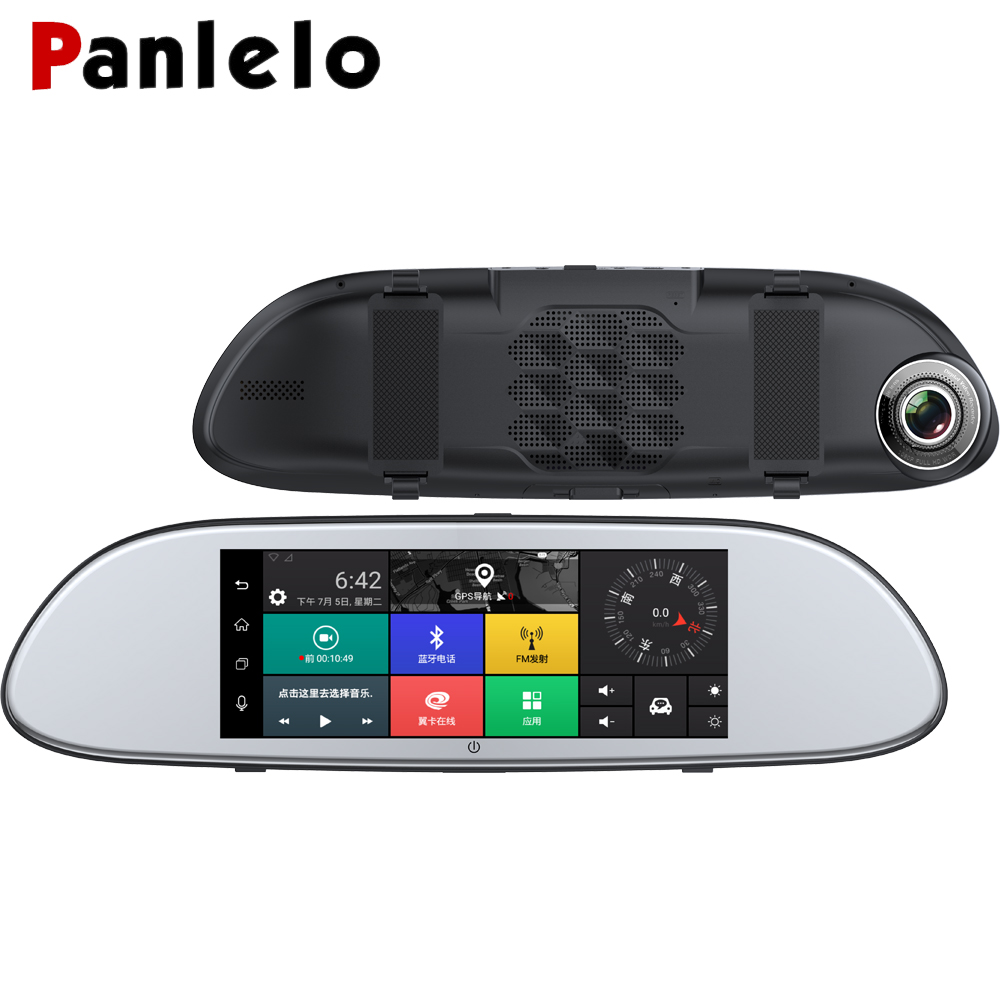 Panlelo voiture miroir GPS Android 5.0 6.86 pouces HD 1080 P GPS Navigation avec G-SENSOR vue arrière caméra Bluetooth WIFI FM GPS Auto