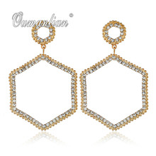2019 New arrival Luxury Sparkling Geometric Crystal Earrings for Women Rhinestone Simple Gold silver color Wedding Party E105 недорого