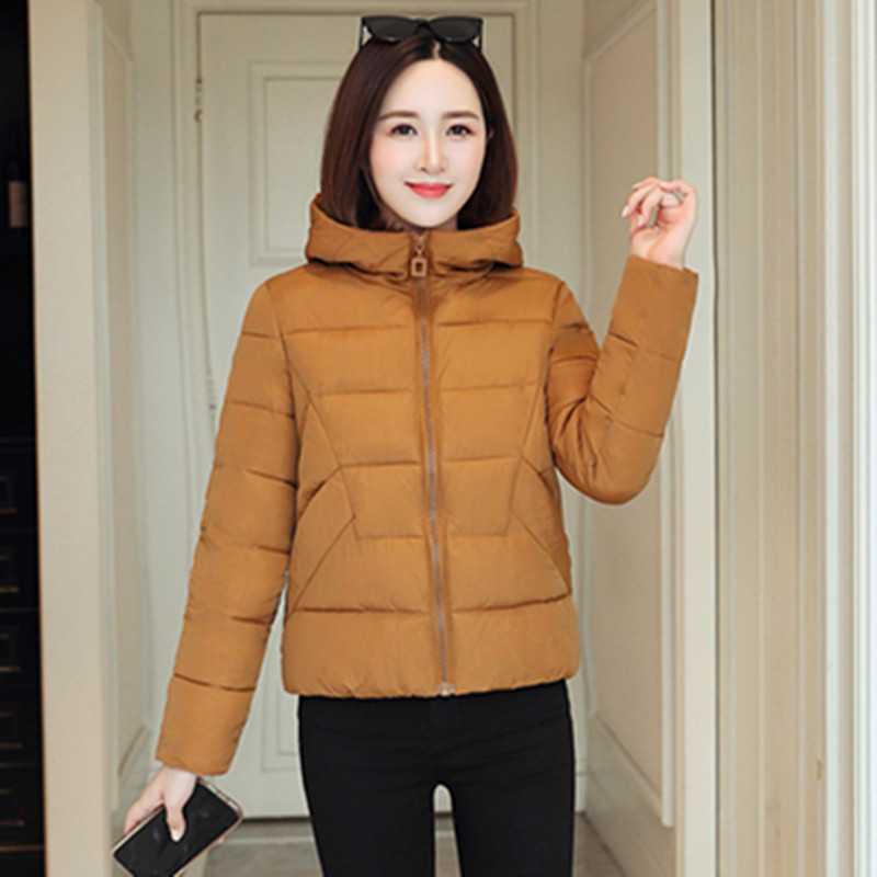2020 Jacket Women Winter Fashion Warm Thick Solid Short Style Cotton padded   Parkas   Hooded jacket plus size S-6XL