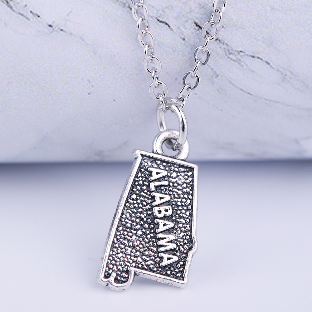 Dawapara ALABAMA map pendant necklace antique sliver color metal message necklace with link chain best gifts