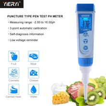 Yieryi pH5S Digital Puncture Pen Food Yogurt Tester - 2.00~16.00pH PH & ORP 2-in-1 Tester with ATC for Meat, Cheese and Fruit