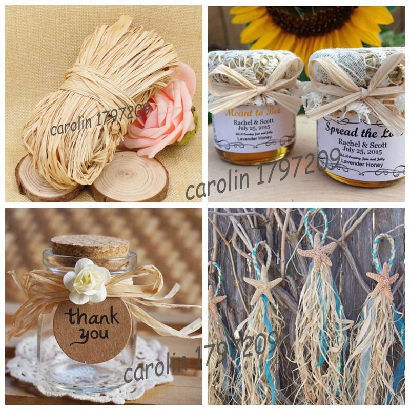 Natural Raffia Rope DIY Crafts Wedding Invitaiton Gift Packing Flower Wraping Rustic Decor Vintage Decoration In Party Decorations From