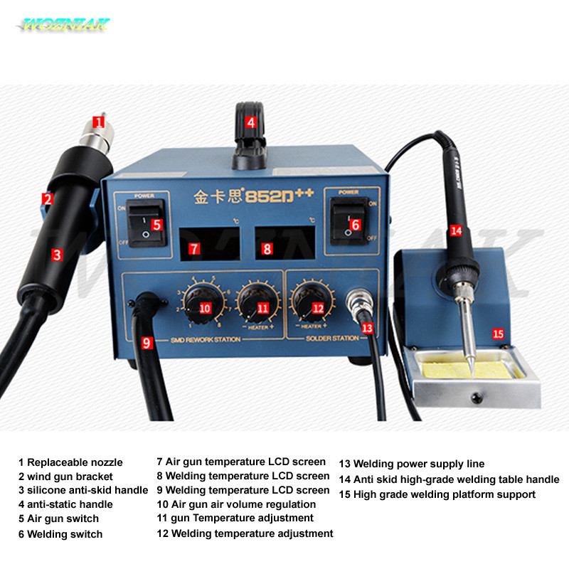 Wozniak 220V 2 In 1 Soldering Station 995d Hot Air Gun Soldering Iron Motherboard Desoldering Welding BGA CUP CHIP A7 A8 A9 A10 yihua soldering station 995d hot air gun soldering iron motherboard desoldering welding repair 110v 220v 2 in 1 electric iron