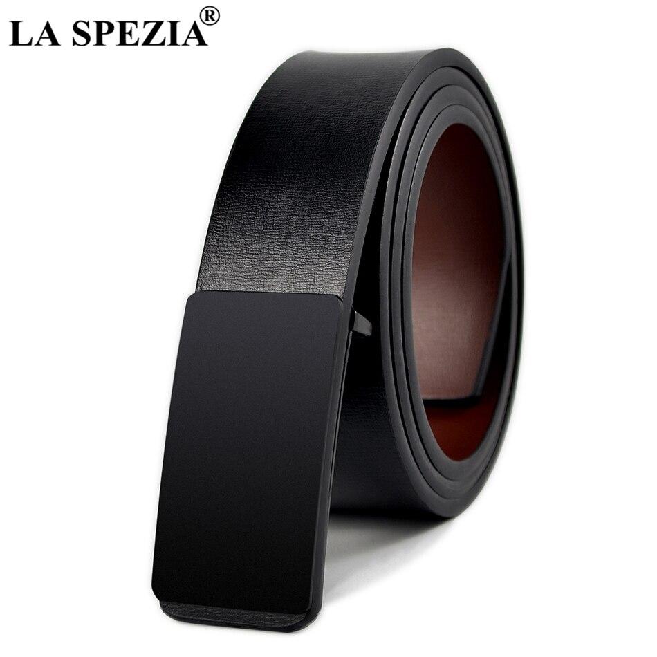 LA SPEZIA Real Leather Belt Mens Black Smooth Buckle Belts Male Genuine Cowskin Leather Business Office Designer Luxury Belts