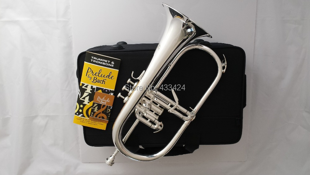 American Bach flugelhorn silver-plated  B flat Bb professional trumpet Top musical instruments in Brass trompete horn bb f tenor trombone lacquer brass body with plastic case and mouthpiece musical instruments