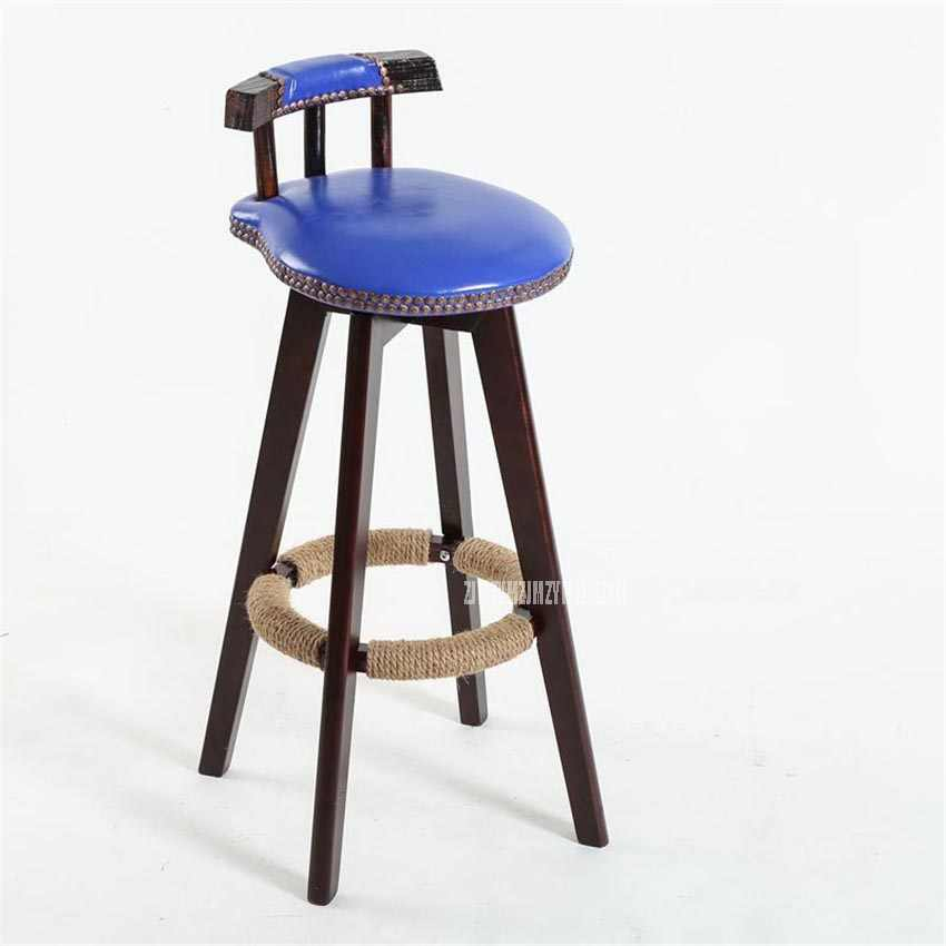 73 см креативный современный дизайн твердый деревянный барный стул из искусственной кожи Мягкая Подушка седла с низкой спинкой кофе счетчик Досуг высокий табурет для ног
