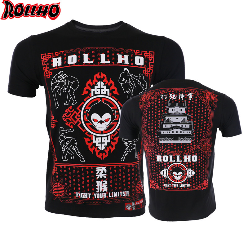 ROLLHO Fight Thai Boxing Fight Shogun Short Sleeve T Shirt Gym MMA Fitness Martial Arts Warrior Training Man