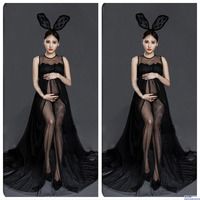 Black Sexy Maternity Dresses For Photo Shoot Maternity Photography Props Bunny Girl Pregnancy Dress Photography For Pregnant