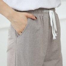 дешево!  Весной и летом 2019 года новые шелка льда пузырьков хлопка брюки для девочек свободные большой разме