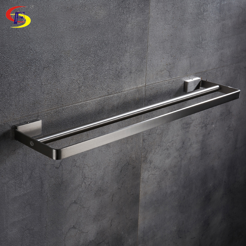 Anju Bathroom Accessories 304 Stainless Steel Wire Drawing Double Towel Bars Towel Holder free shipping bathroom accessories products solid 304 stainless steel nickel brushed double towel bars towel holder sus003