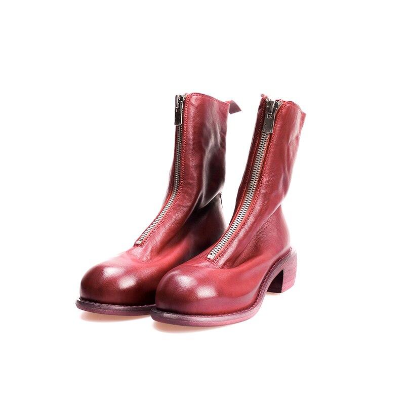 Otoño Botas Calzado Short Invierno 2019 red Cuero Mujeres Mujer Wetkiss short Tacones La Pie black Nuevo Med Long Las Redondo Dedo Long Grueso Del Zapatos Genuino De wfxZUtx