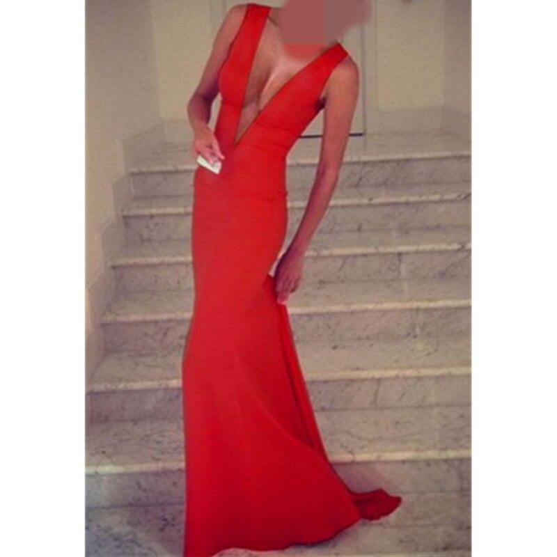 Haute qualité robe rouge serré Long noir