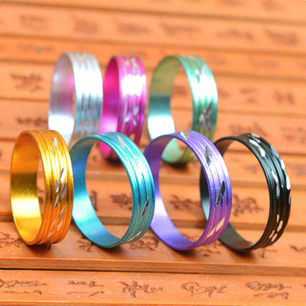 1pcs Random Unisex Colorful Steel Rose Gold Anti-allergy Rings