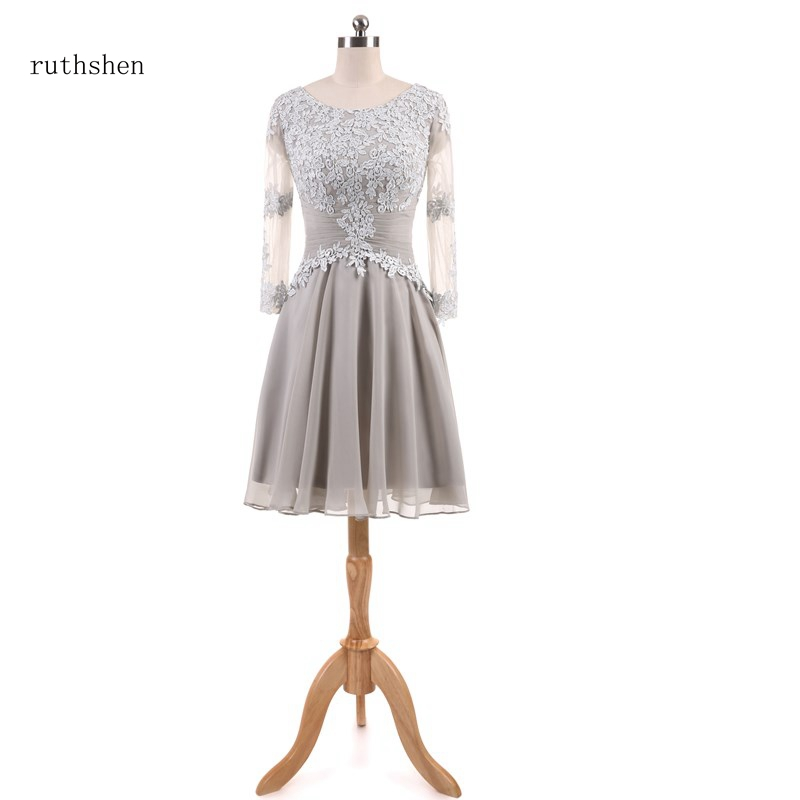 ruthshen robe bal de promo silver gray short prom dresses 2018 lace satin knee length lace up