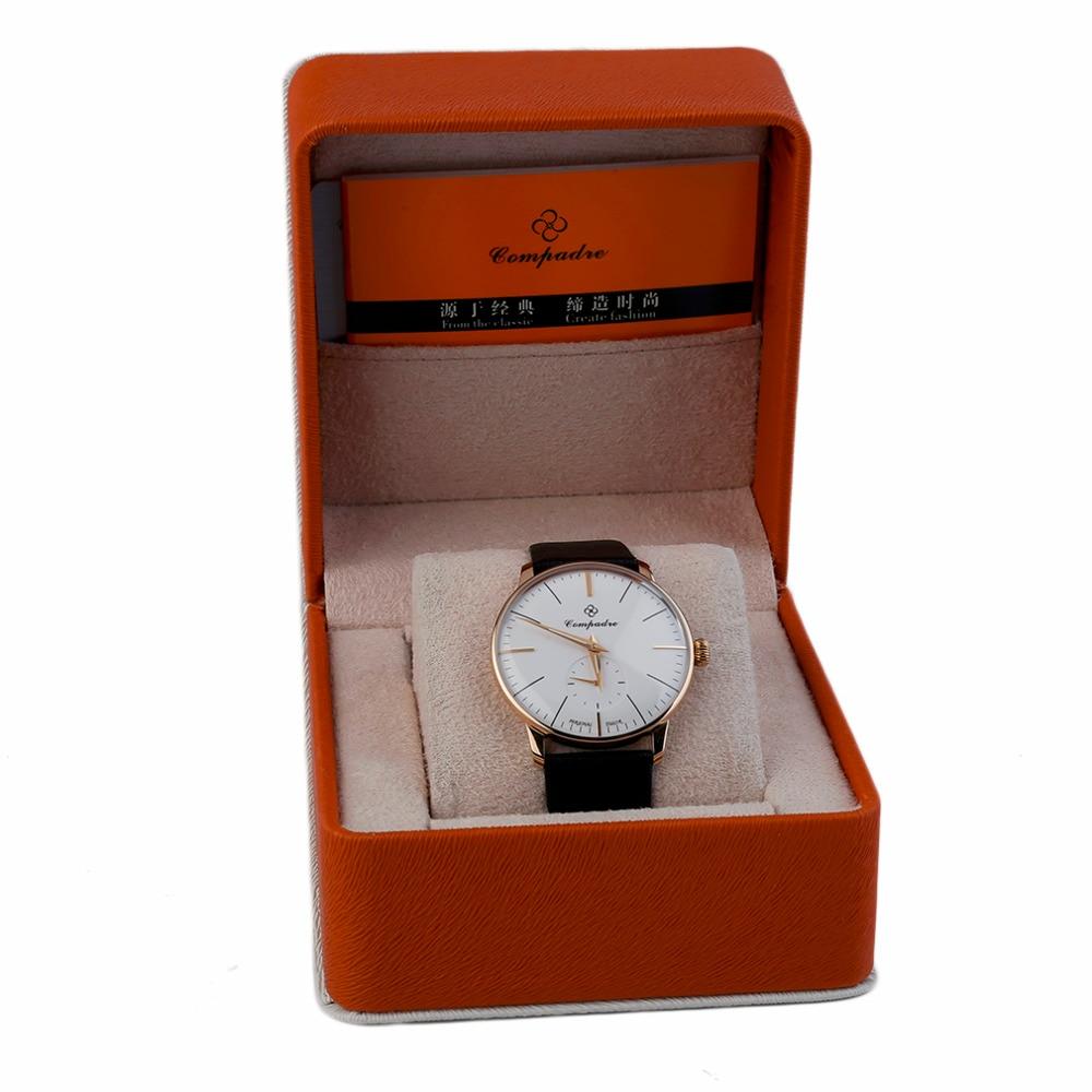 ФОТО Kenpajie Top Brand Luxury Mechanical Watch Men Women Fashion Temperament Circular Watch Leather Strap Wrist Watches Perfect Gift